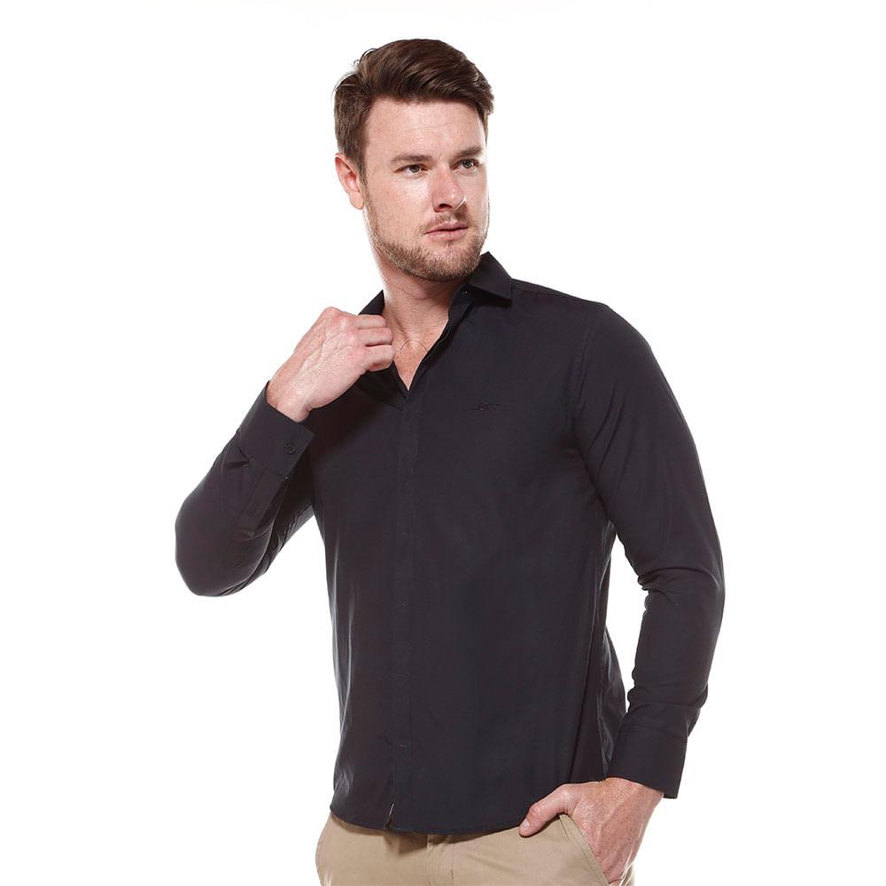 Camisa Manga Longa Slim Vista Coberta Liso Misto