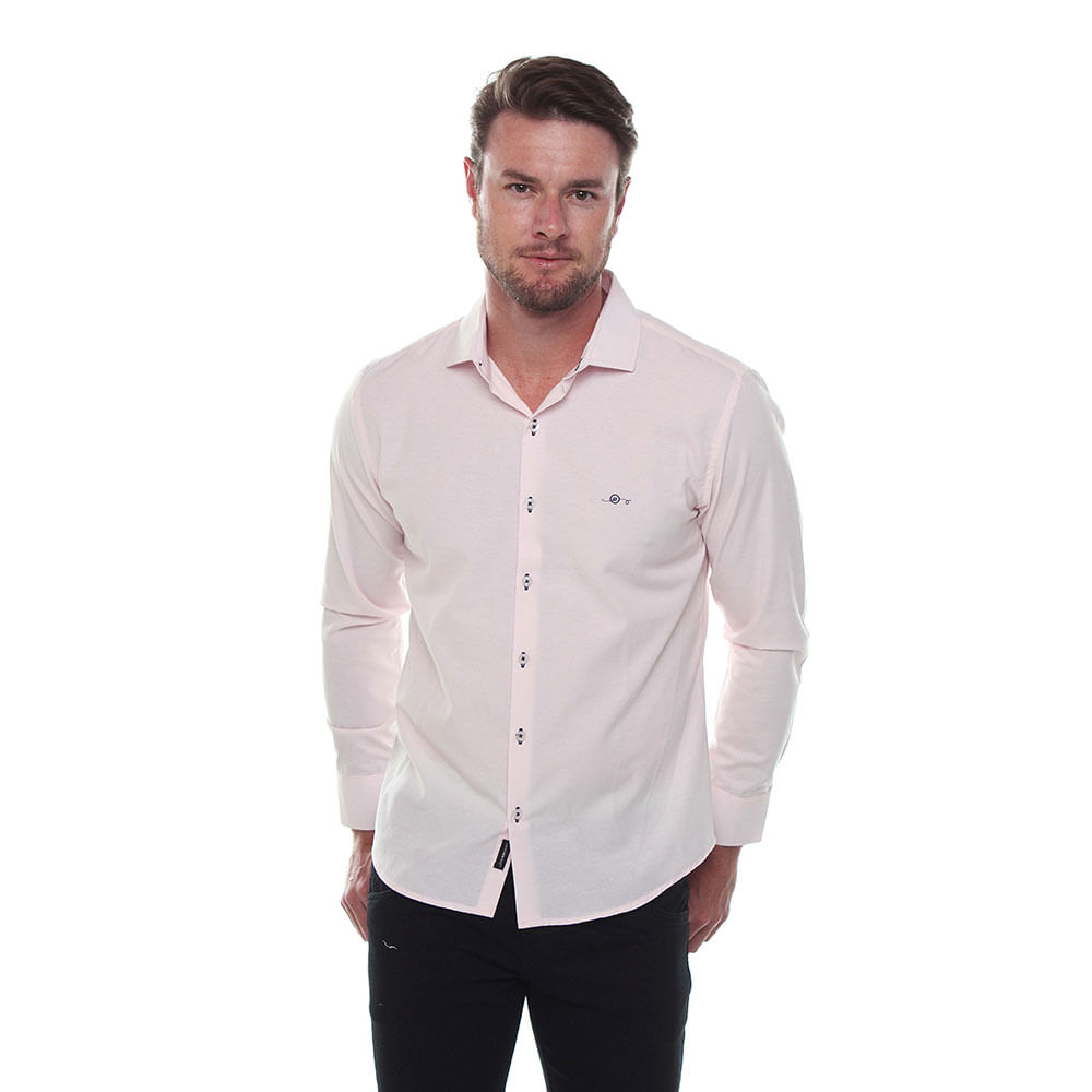 Camisa Manga Longa Slim Fit Maquinetado Misto