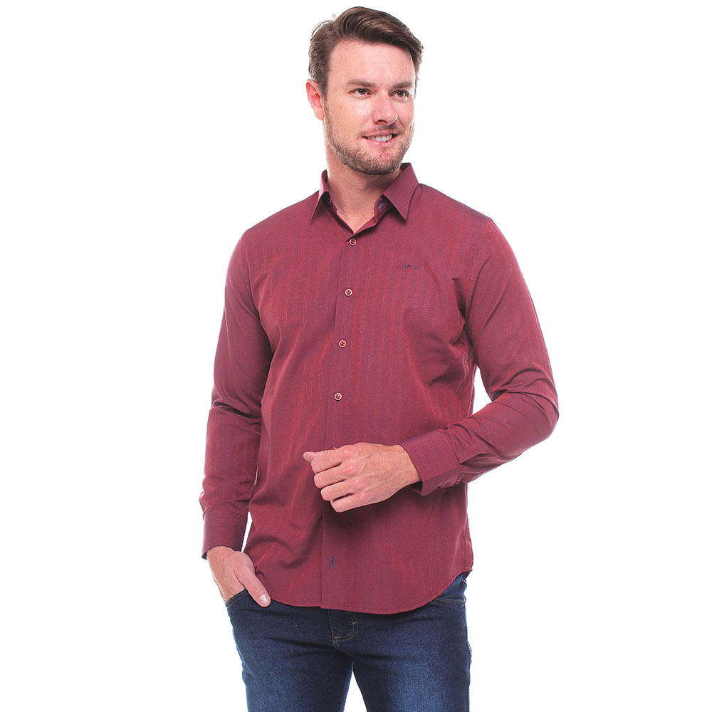 Camisa Manga Longa Tradicional Maquinetado Misto